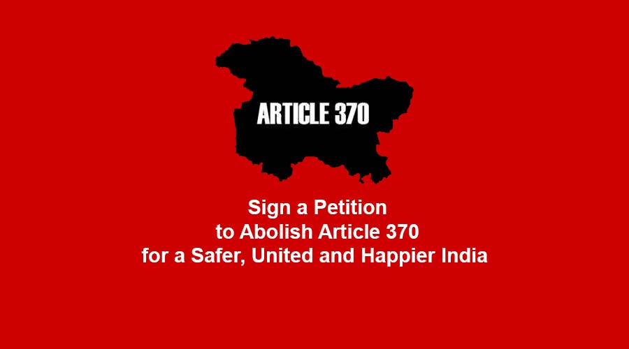 sign up to abolish article 370 for a safer  united and