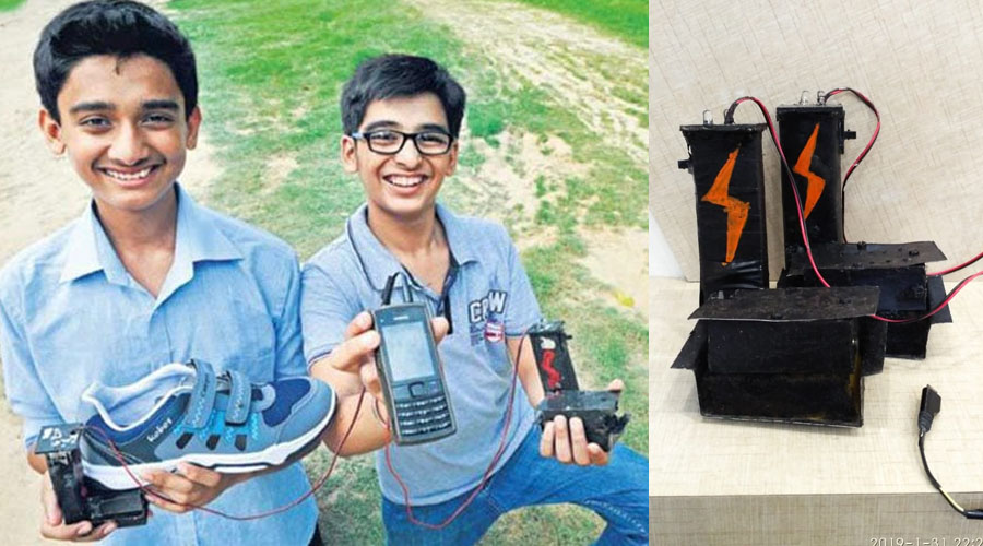The Delhi-Duo invented, WALKIE-MOBIE charger; charges a mobile phone with the foot-steps of its user!