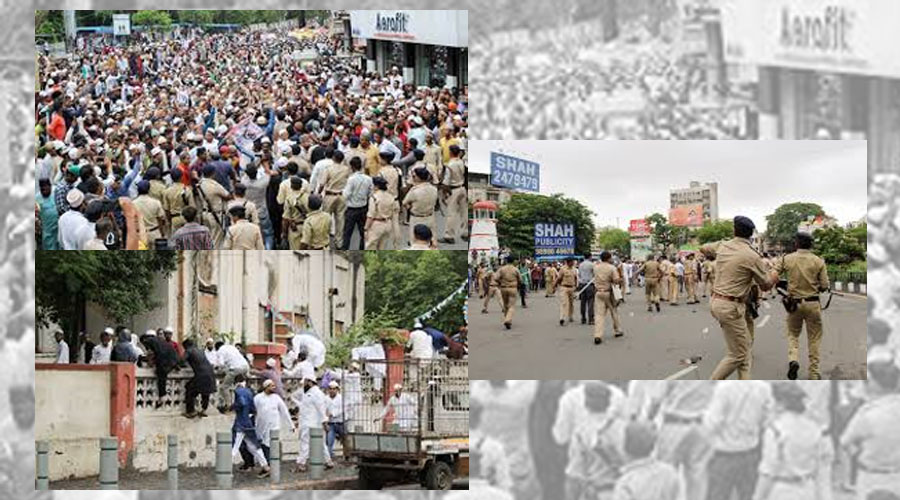 SURAT; Tabrez Ansari Mob lynching protestors turn vigorously violent. Booked under Section-144.