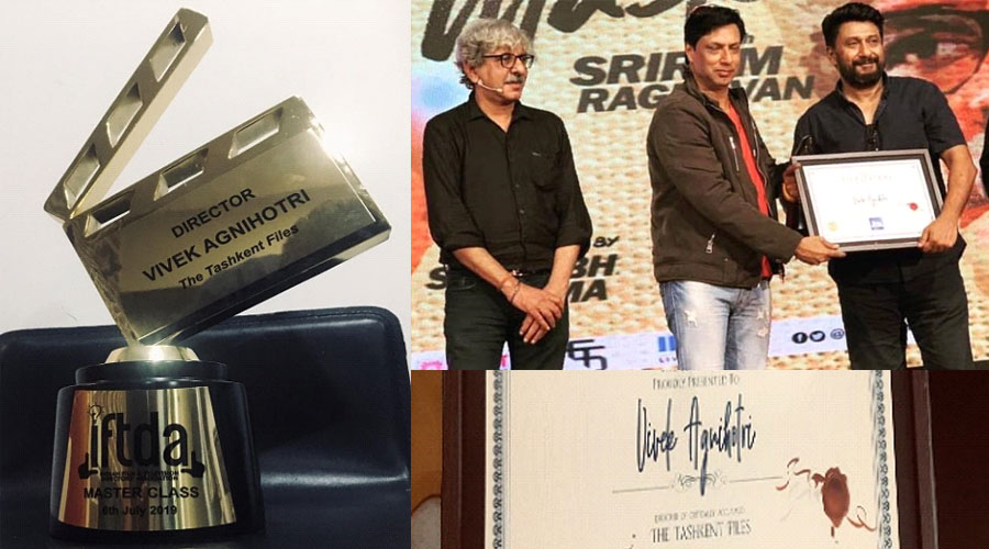 "Vivek Agnihotri's ""The Tashkent Files"" felicitated by IFTDA-the most prestigious director's guild. What an Honor!"